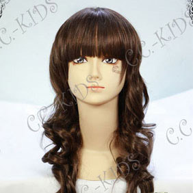 Brown  Long Nylon Curly Cosplay Wig