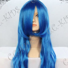 Blue  Long Nylon Curly Cosplay Wig