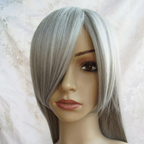 Gray Silver Long Nylon Cosplay Wig