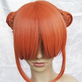 Orange  Gintama  Kagura Long Nylon Cosplay Wig in buns