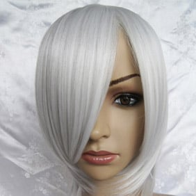 Silver Short Nylon Straight Cosplay Wig