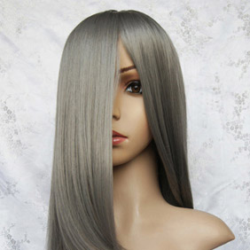 Gray  Long Nylon Straight Cosplay Wig
