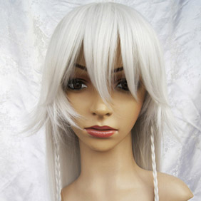 White Pandora Hearts  Alice White·Gray Long Straight Nylon Cosplay Wig