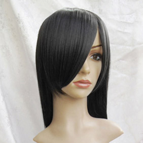 Black Long  Straight Nylon Cosplay Wig
