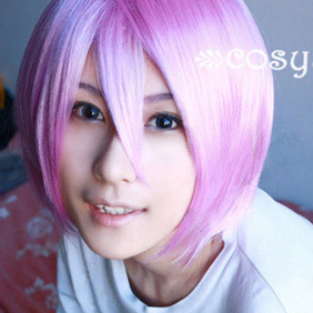 Pink Lucky Star   Hiiragi Tsukasa  Short Nylon Cosplay Wig