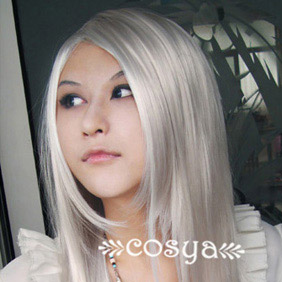 White  Katekyo Hitman Reborn WIG0057 Long Straight Nylon Cosplay Wig