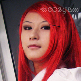 Red  Semi-Long Straight Nylon Cosplay Wig