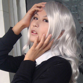Silver  Semi-Long Curly Nylon Cosplay Wig