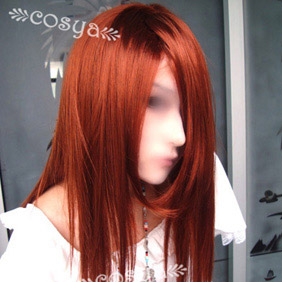 Red Brown Semi-Long Straight Nylon Cosplay Wig