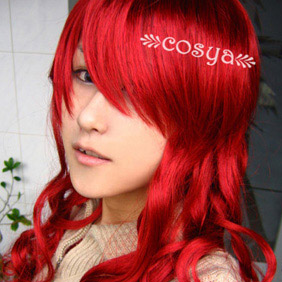 Red  Semi-Long Curly Nylon Cosplay Wig