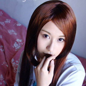 Brown Semi-Long Straight  Nylon Cosplay Wig