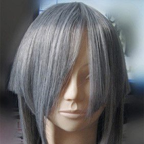 Gray Semi-Long Straight Nylon Cosplay Wig
