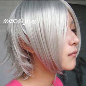 White Katekyo Hitman Reborn WIG0082 Short Nylon Cosplay Wig