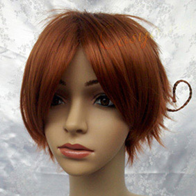 Brown Short Straight  Nylon Cosplay Wig