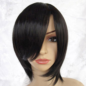 Black  Short Straight  Nylon Cosplay Wig