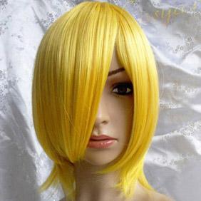 Yellow Short Straight Nylon Cosplay Wig