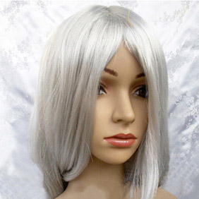 White Long Straight  Nylon Cosplay Wig