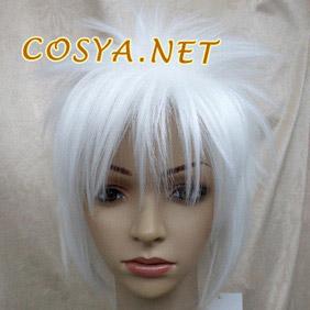 White Katekyo Hitman Reborn  Byakuran Short Nylon Cosplay Wig
