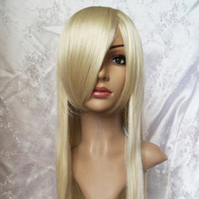 Blonde chobits chi Long Straight Nylon Cosplay Wig