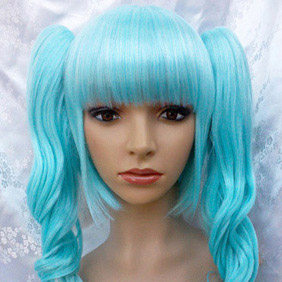 Blue VOCALOID4 Ryuno naku hakoniwa yori  Miku Long Curly Nylon Cosplay Wig