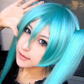 Blue 100cm VOCALOID Hatsune Miku(the same as WIG0215B) Long Straight Nylon Cosplay Wig in braids