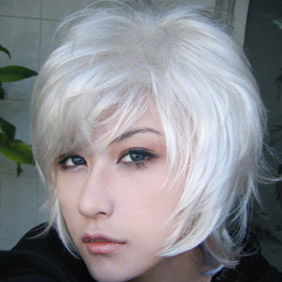 White Short Curly Nylon Cosplay Wig