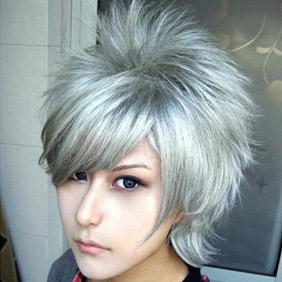 Silver Starry☆Sky Shiranui Kazuki Short Curly Nylon Cosplay Wig
