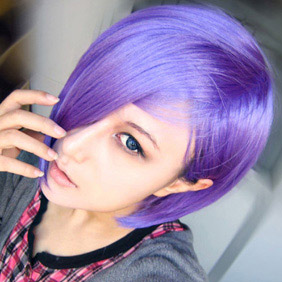 Purple  Lucky Dog1 Short Nylon Cosplay Wig