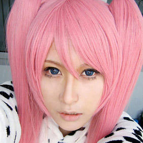 Pink Axis Powers Hetalia France female Long Straight Nylon Cosplay Wig in braids
