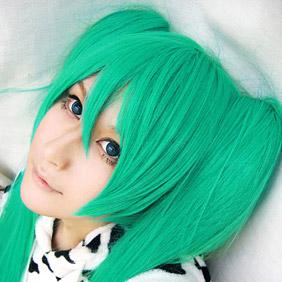 Green Axis Powers Hetalia America female Long Straight Nylon Cosplay Wig in braids
