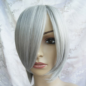 White High-temperature Fiber !Silvery Short Nylon Cosplay Wig