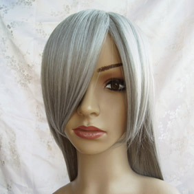 White High-temperature Fiber !Silvery Long Straight Nylon Cosplay Wig