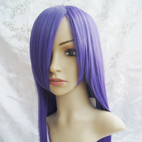 Purple High-temperature Fiber ! Long Straight Nylon Cosplay Wig