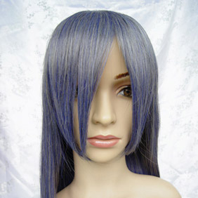 Dark Blue High-temperature Fiber ! Long Straight Nylon Cosplay Wig