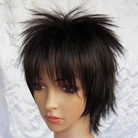 Black  Gintama Hijikata Toushirou Short Nylon Cosplay Wig