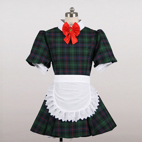 Maid Costume Mini Skirt check Cosplay Costume