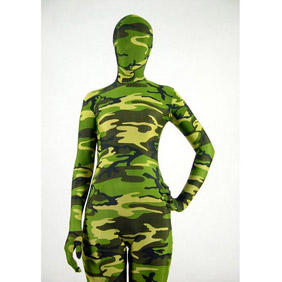 Sexy Camouflage Green Lycra Zentai Suit
