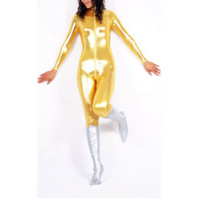 Metallic Golden Front-Open Knitted Fabric Female Zentai Suit