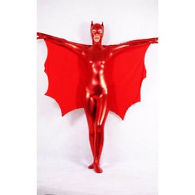 Metallic Red Knitted Fabric Cat Woman Zentai Suit