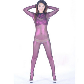 Purple+Golden Velours Tights Silk Zentai Suit