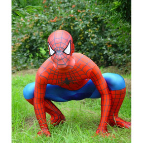 Sexy Red+Blue Metallic Spiderman Costume Knitted Fabric Male Zentai Suit