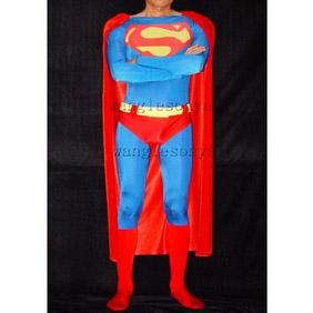 Metallic Red+Blue Knitted Fabric Male Superman Costume  Zentai Suit