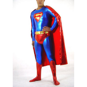 Sexy  Metallic  Knitted Fabric Male  Super Man Zentai Suit
