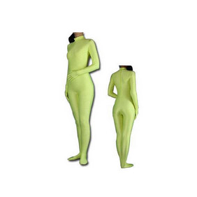Sexy Green Lycra Spandex See-Through  Zentai Suit