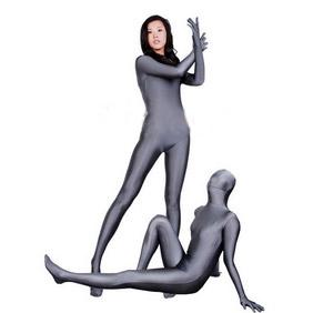 Sexy Gray Lycra See-Through Smoky Zentai Suit