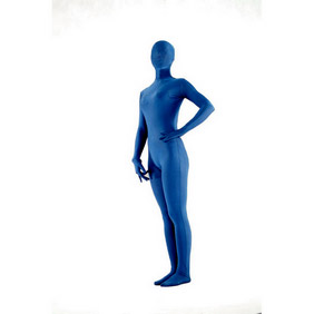 Sexy Blue Lycra See-Through  Zentai Suit