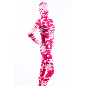 Sexy Pink&White Lycra Breathable Soft Whole Body  Zentai Suit