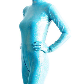 Metallic blue Breathable SoftSexy Whole Body Zentai Suit