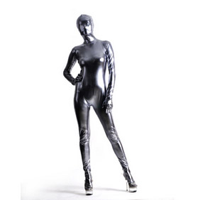 Sexy Metallic Silver Mixed Color Soft Whole Body  Zentai Suit