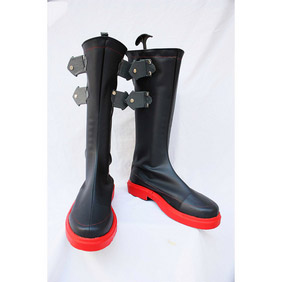 KOF Ash Crimson Black  PU Leather Cosplay Boots